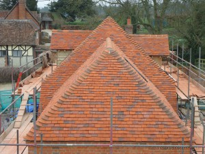 Barn conversion completed showing the many elevations and the blended roof tiles