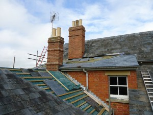 In progress the re-slating of a 100 plus years old roof