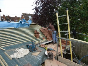Laying up the roof tiles