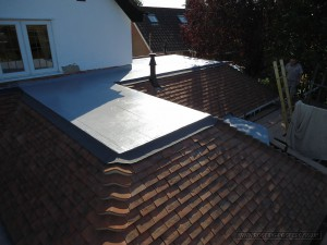 The flat roof finished showing how the Sealoflex system looks