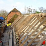 Roof tiling renovation to grade II listed outbuildings