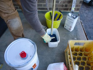 Polyester resin being mixed ready to apply