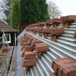 Roof tiles stacked ready for laying