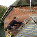 Lead flashing being installed