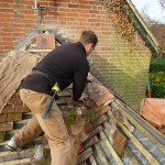 Installing the roof valley tiles