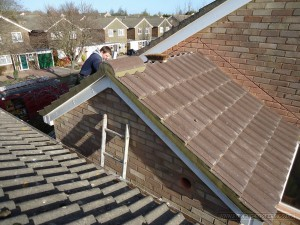 Ridge tile fitted ready for completion and installing remaining ridges