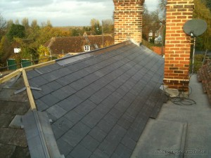 Natural slate roff renovation on a listed property