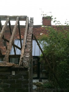 Gable end on grade II listed outbuilding before it was renovated.