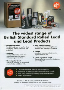 British standard rolled lead and lead products