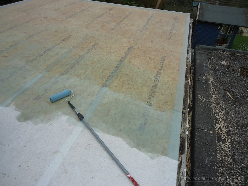 GRP laminate and resin applied to re-inforce the roof