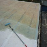 GRP laminate and resin applied to re-inforce the roof coverings.